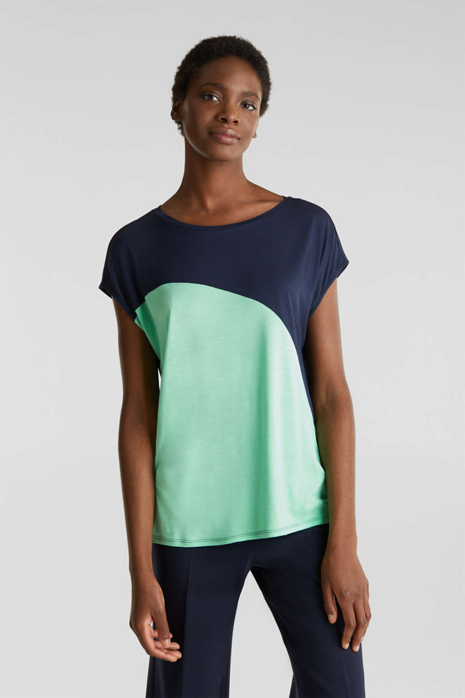 Esprit - T-shirt color block au mix de couleurs inédit