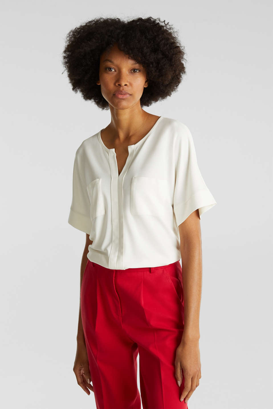 Esprit - Piqué top with a patch pockets