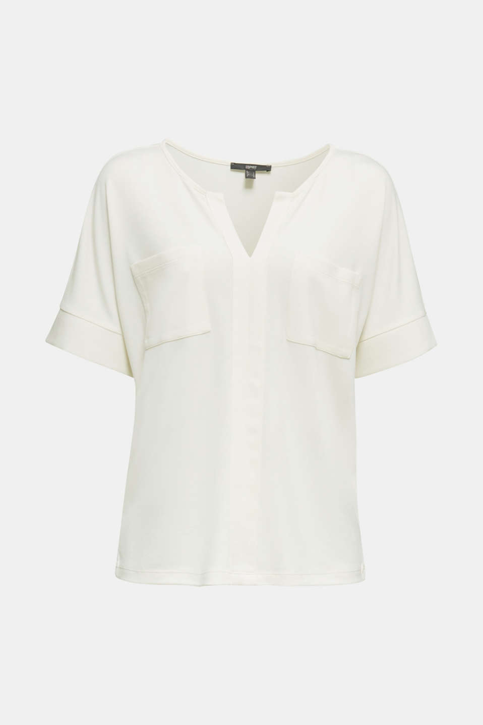 Piqué top with a patch pockets, OFF WHITE, detail image number 5