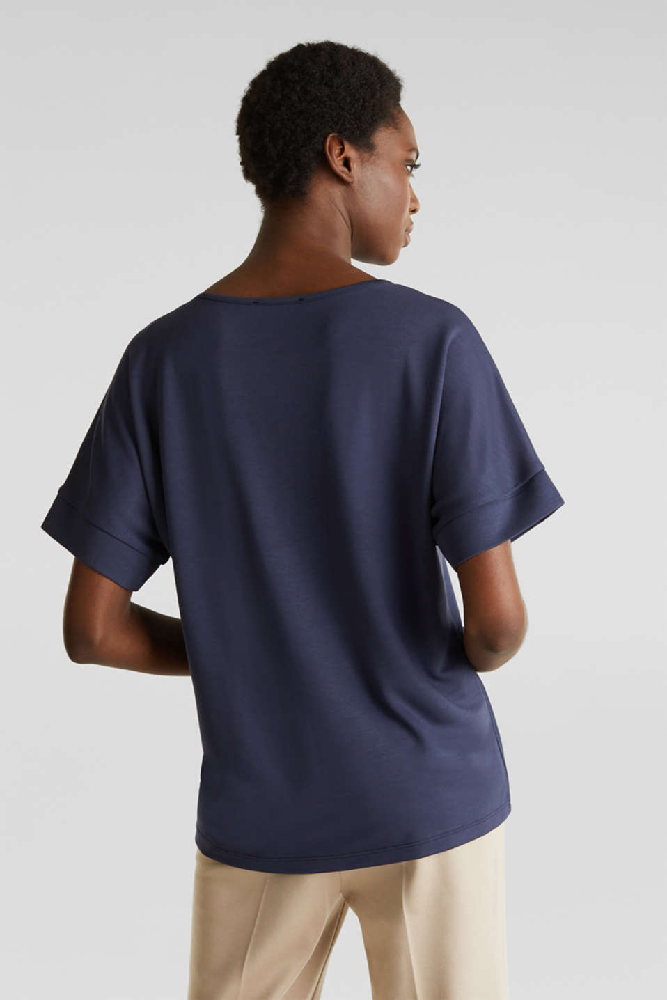 Piqué top with a patch pockets, NAVY, detail image number 3