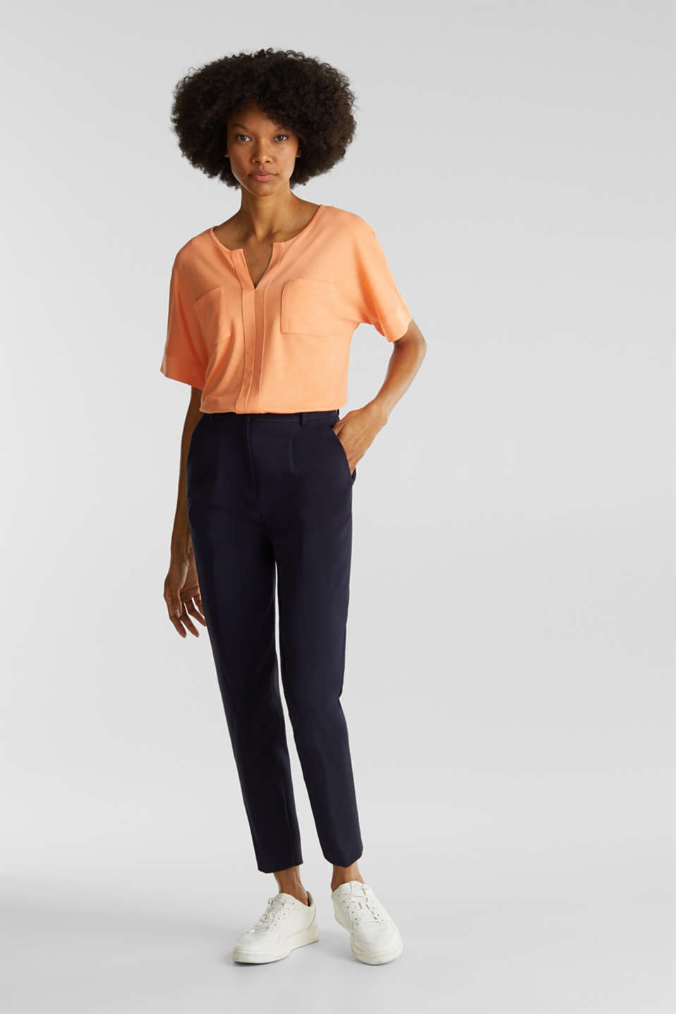 Piqué top with a patch pockets, ORANGE, detail image number 1