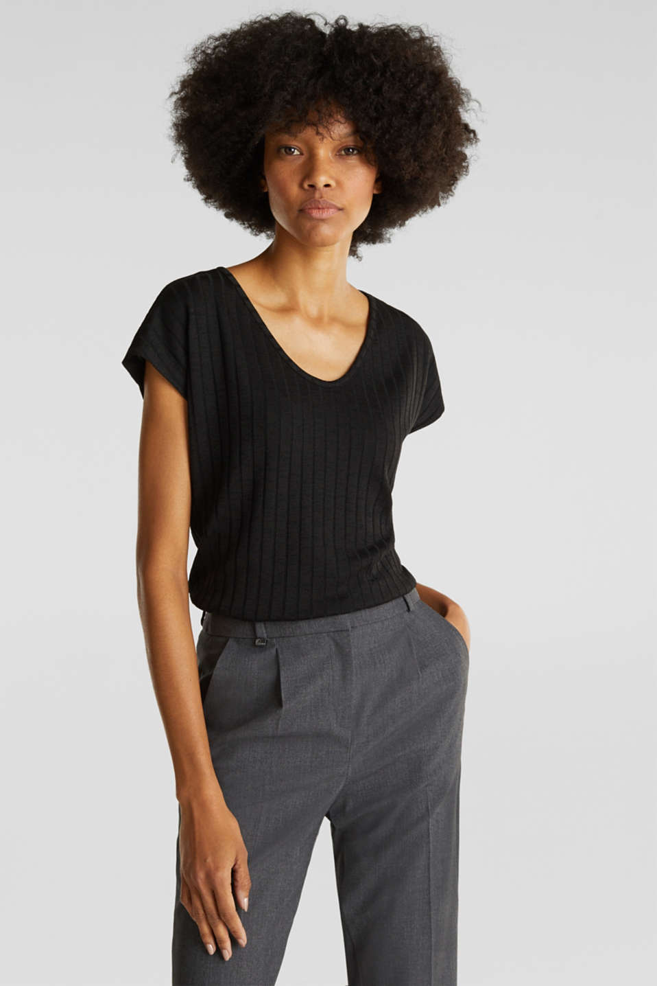 V-neck T-shirt with a ribbed texture and stretch, BLACK, detail image number 0