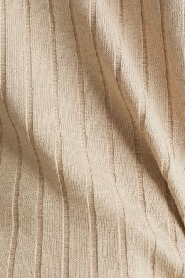 V-neck T-shirt with a ribbed texture and stretch, LIGHT BEIGE, detail