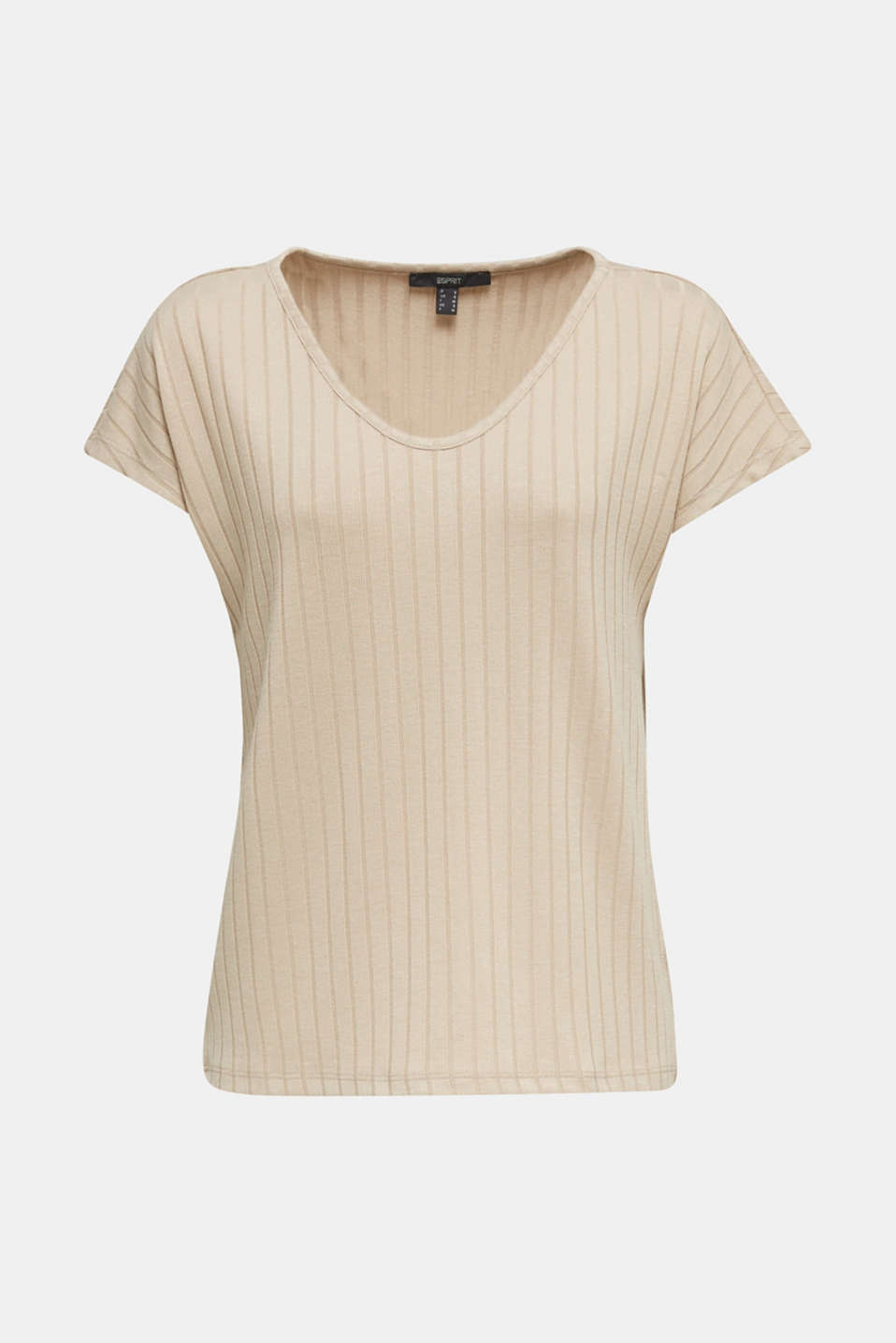 V-neck T-shirt with a ribbed texture and stretch, LIGHT BEIGE, detail image number 6