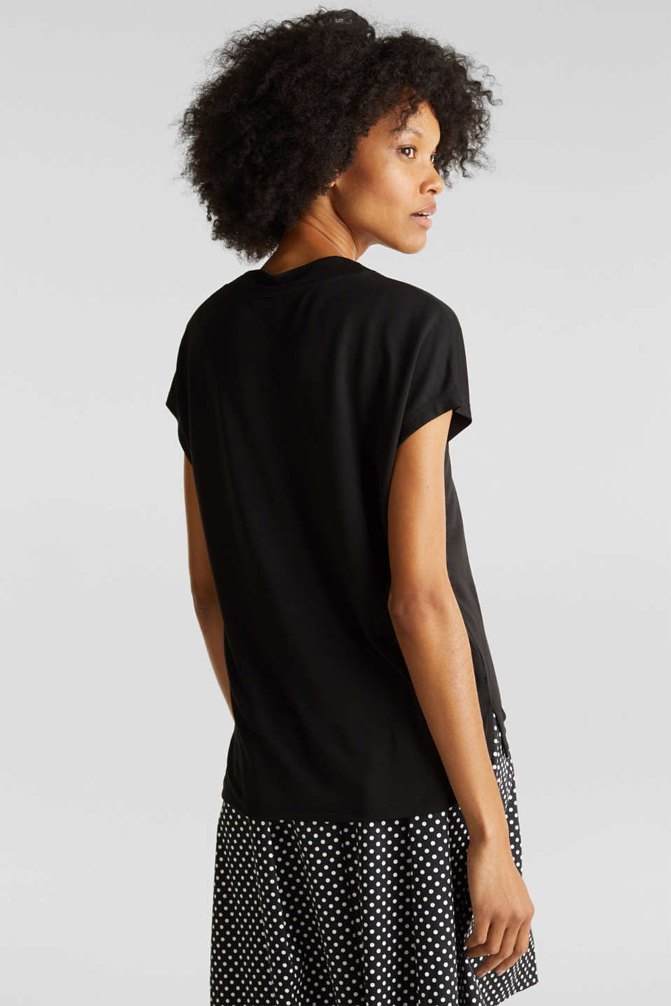 Piqué top with a wide neckline trim, BLACK, detail image number 3