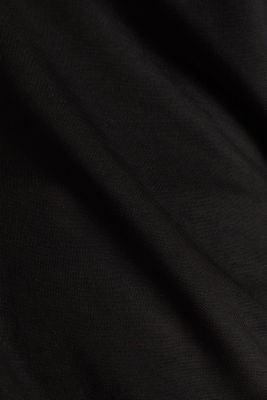 Piqué top with a wide neckline trim, BLACK, detail