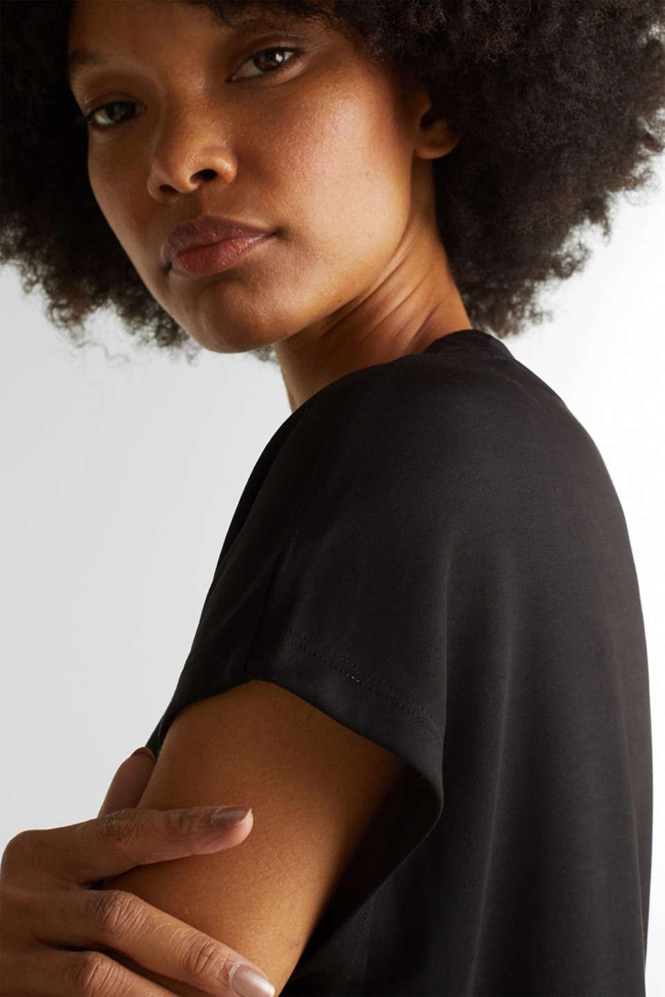 Piqué top with a wide neckline trim, BLACK, detail image number 6