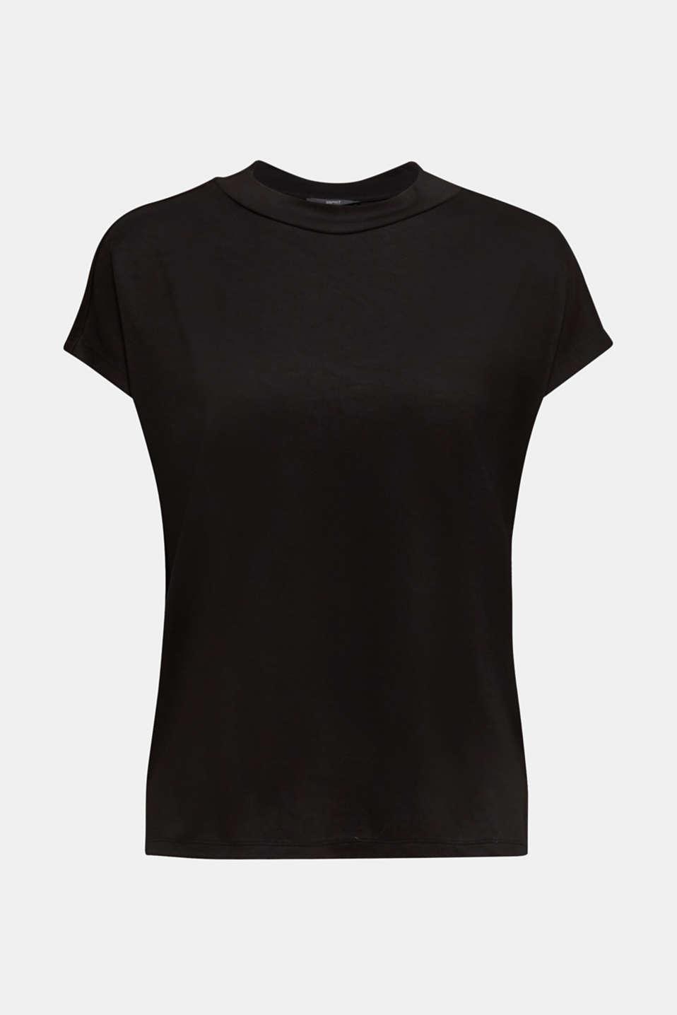 Piqué top with a wide neckline trim, BLACK, detail image number 7