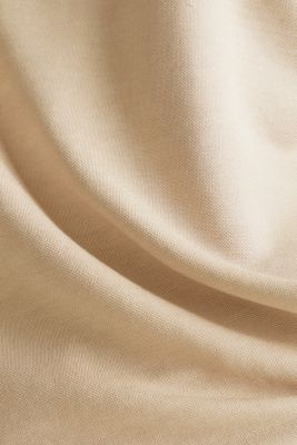 Piqué top with a wide neckline trim, BEIGE, detail