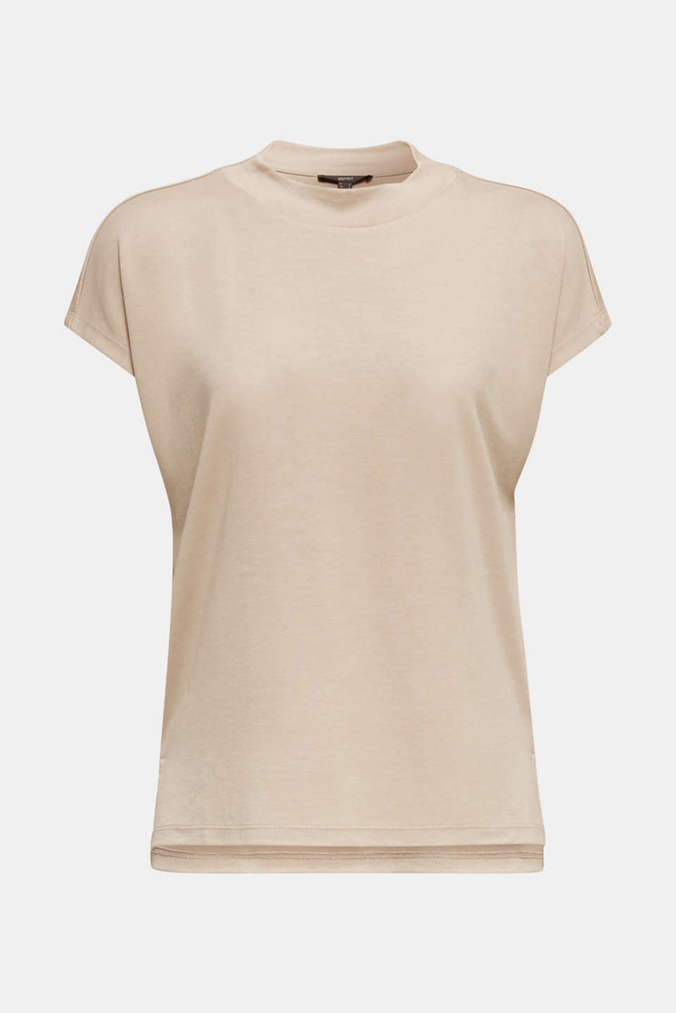 Piqué top with a wide neckline trim, BEIGE, detail image number 6