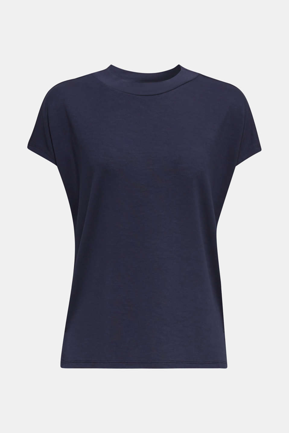Piqué top with a wide decorative trim, NAVY, detail image number 5