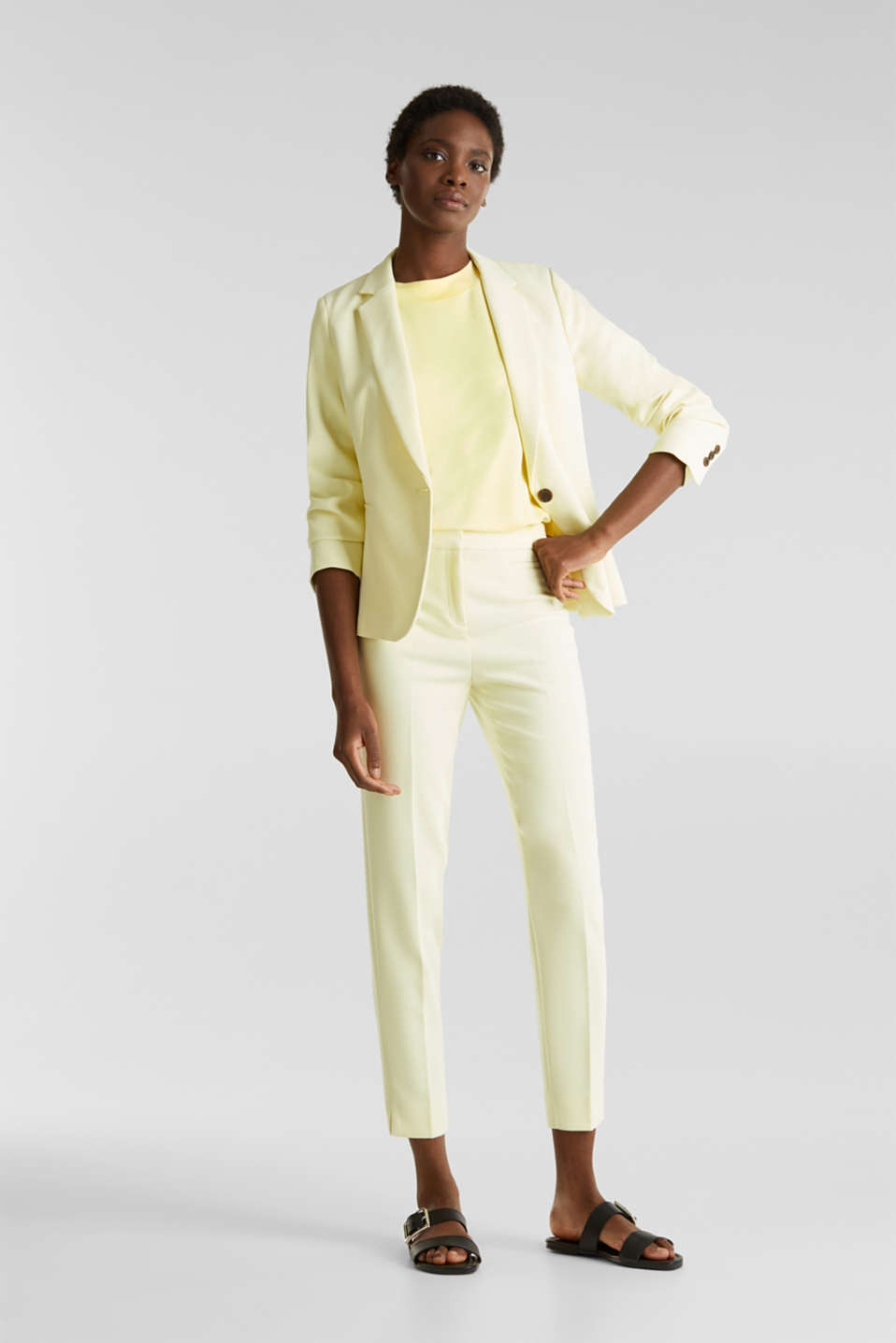 Piqué top with a wide neckline trim, LIME YELLOW, detail image number 1