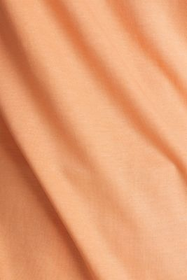 Piqué top with a wide neckline trim, ORANGE, detail