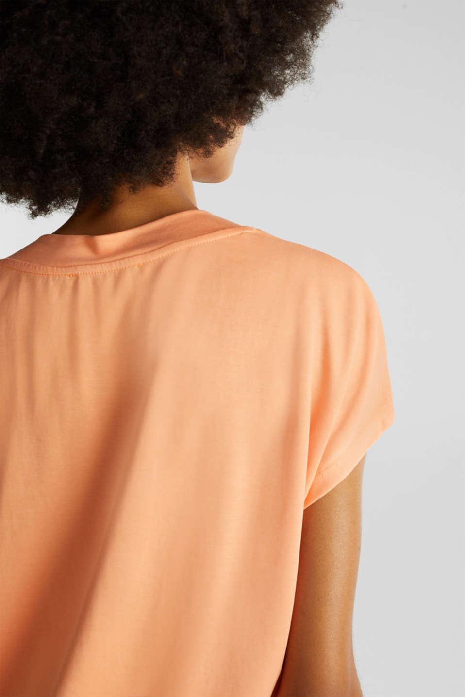 Piqué top with a wide neckline trim, ORANGE, detail image number 4