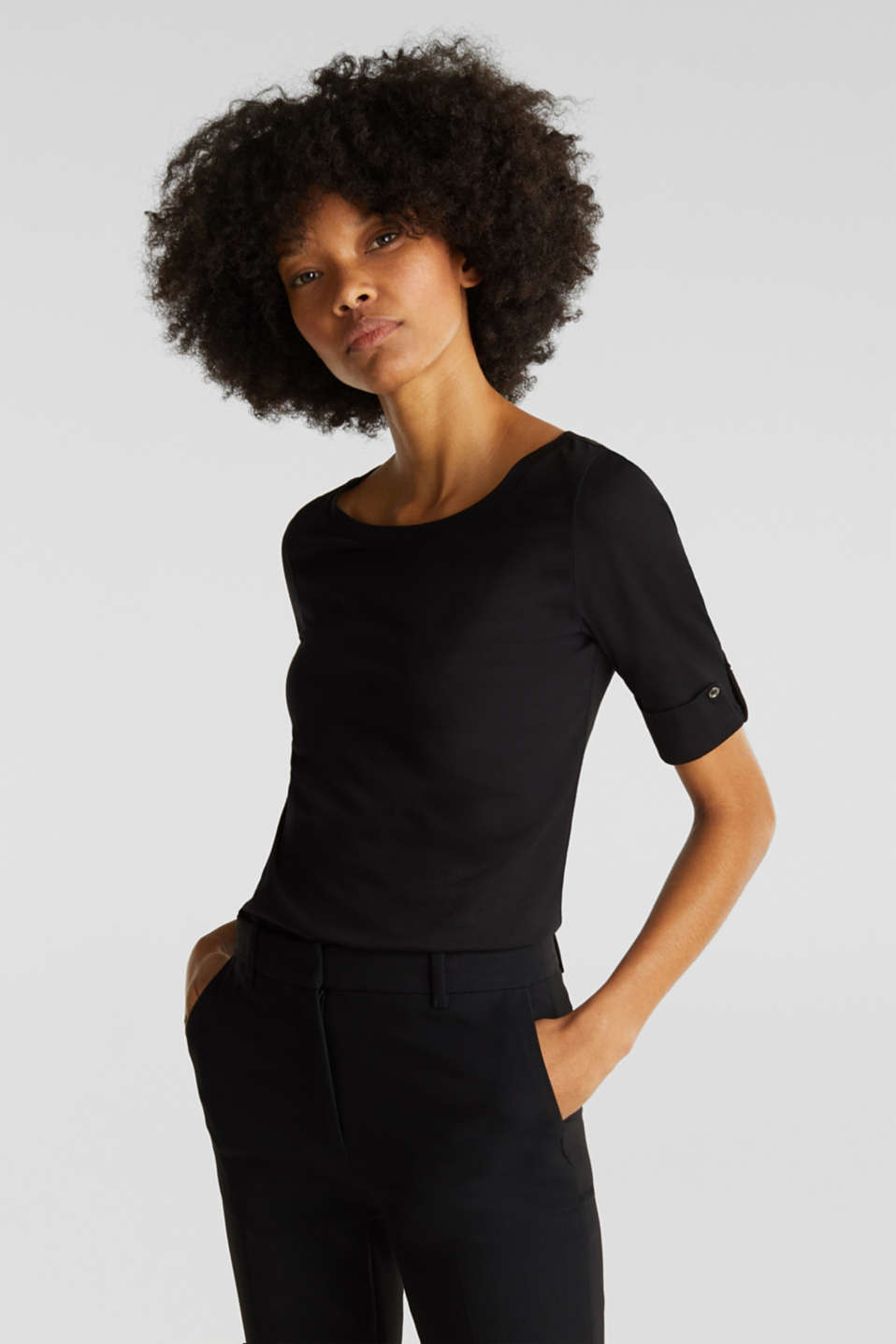 T-shirt with turn-up sleeves, BLACK, detail image number 0