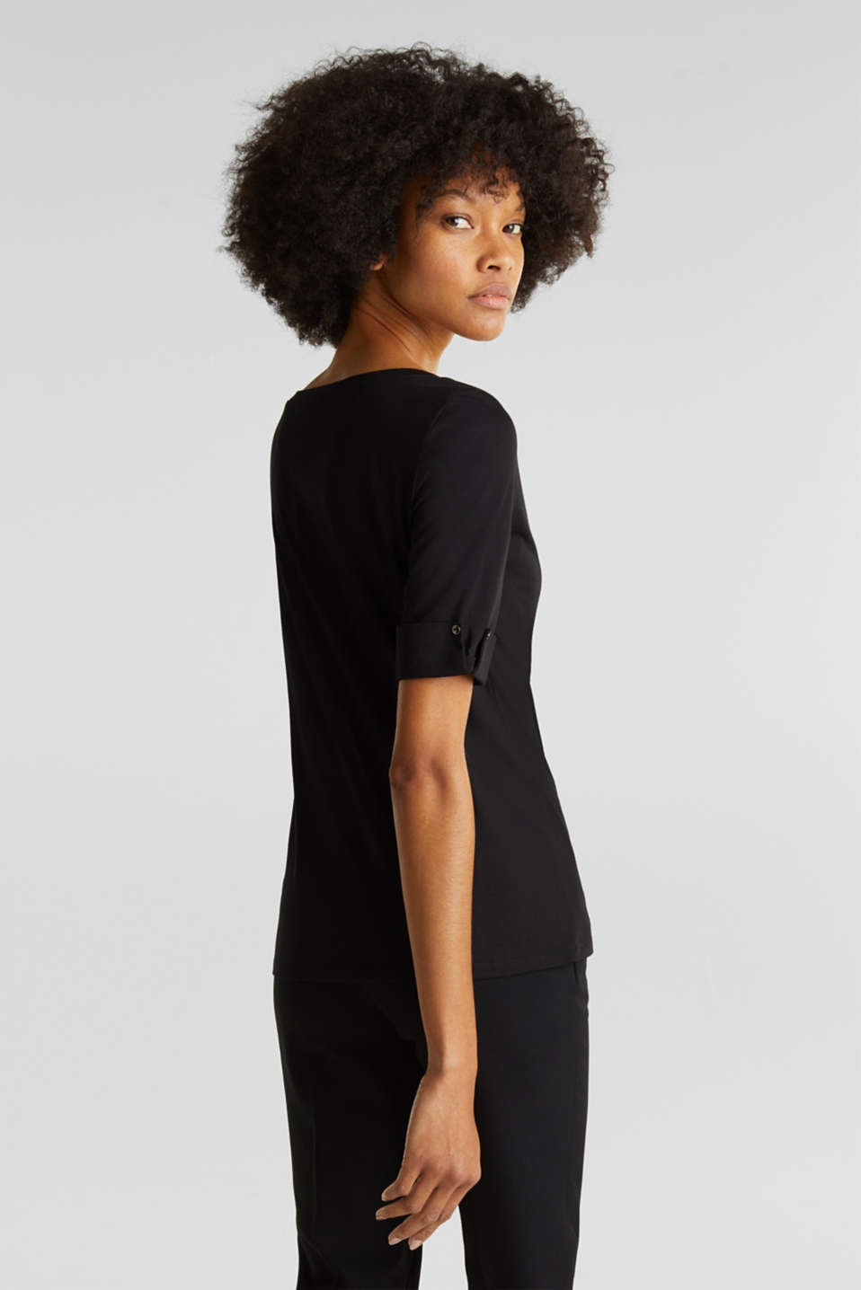 T-shirt with turn-up sleeves, BLACK, detail image number 2