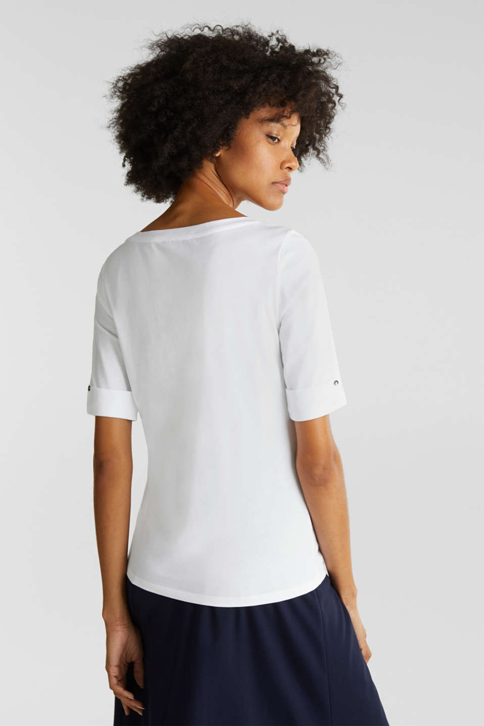 T-shirt with turn-up sleeves, WHITE, detail image number 2
