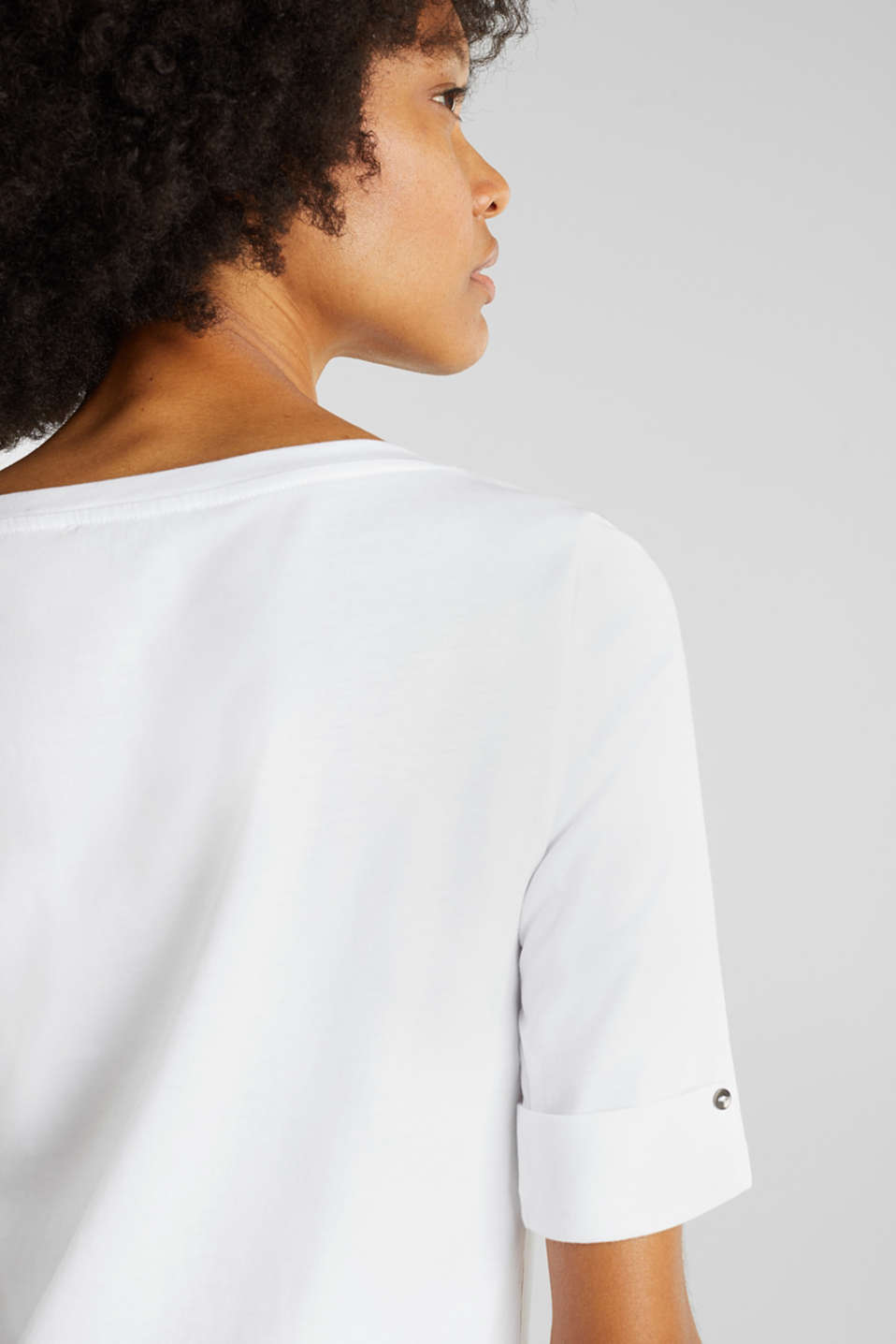 T-shirt with turn-up sleeves, WHITE, detail image number 4