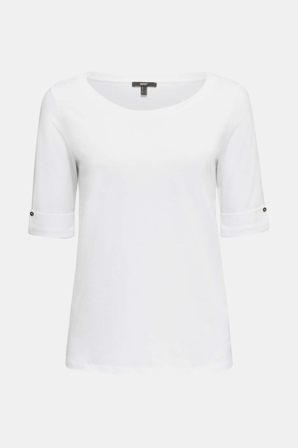 T-shirt with turn-up sleeves, WHITE, detail image number 6