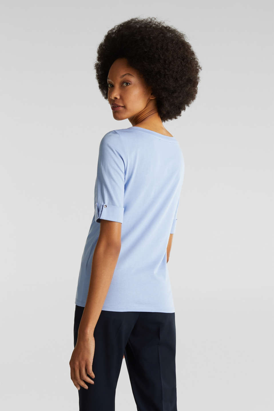 T-shirt with turn-up sleeves, BLUE LAVENDER, detail image number 3