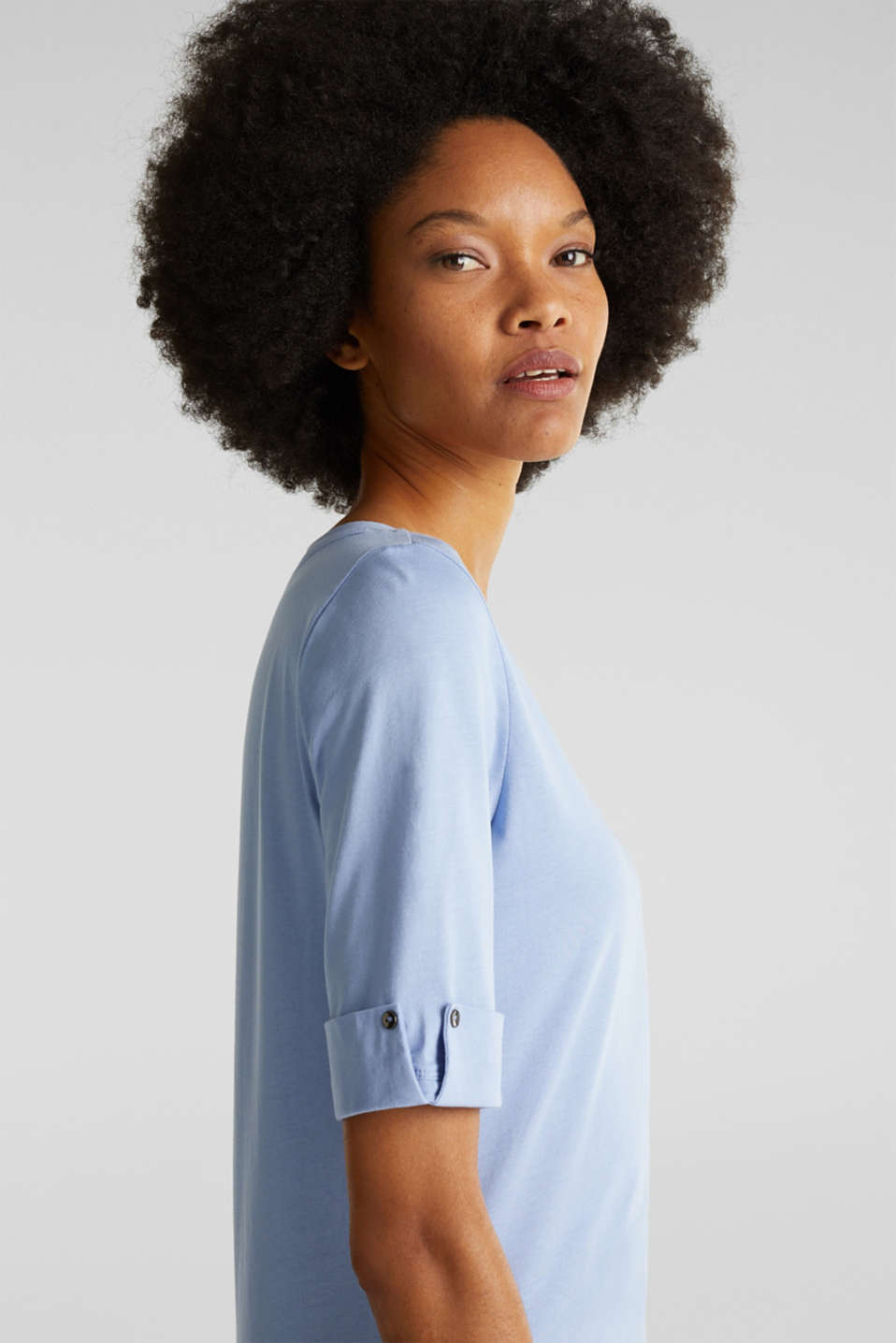 T-shirt with turn-up sleeves, BLUE LAVENDER, detail image number 2