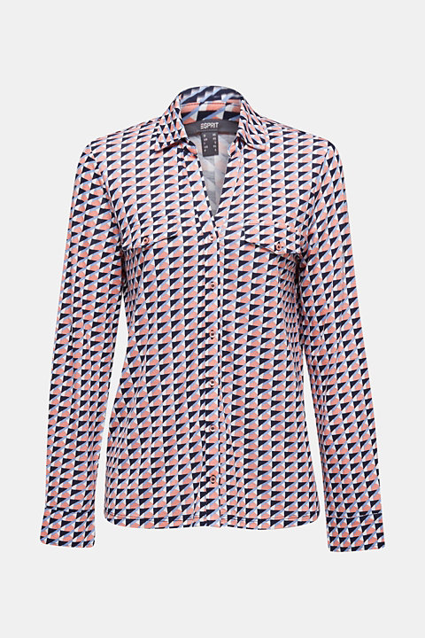 Jersey blouse with mosaic print