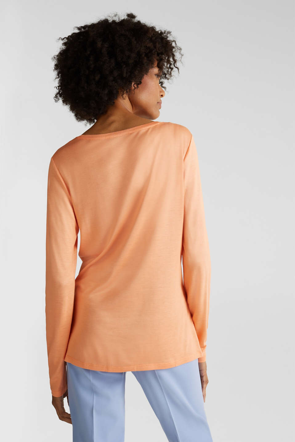 Long sleeve top with a fine sheen, ORANGE, detail image number 3