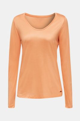 Long sleeve top with a fine sheen, ORANGE, detail