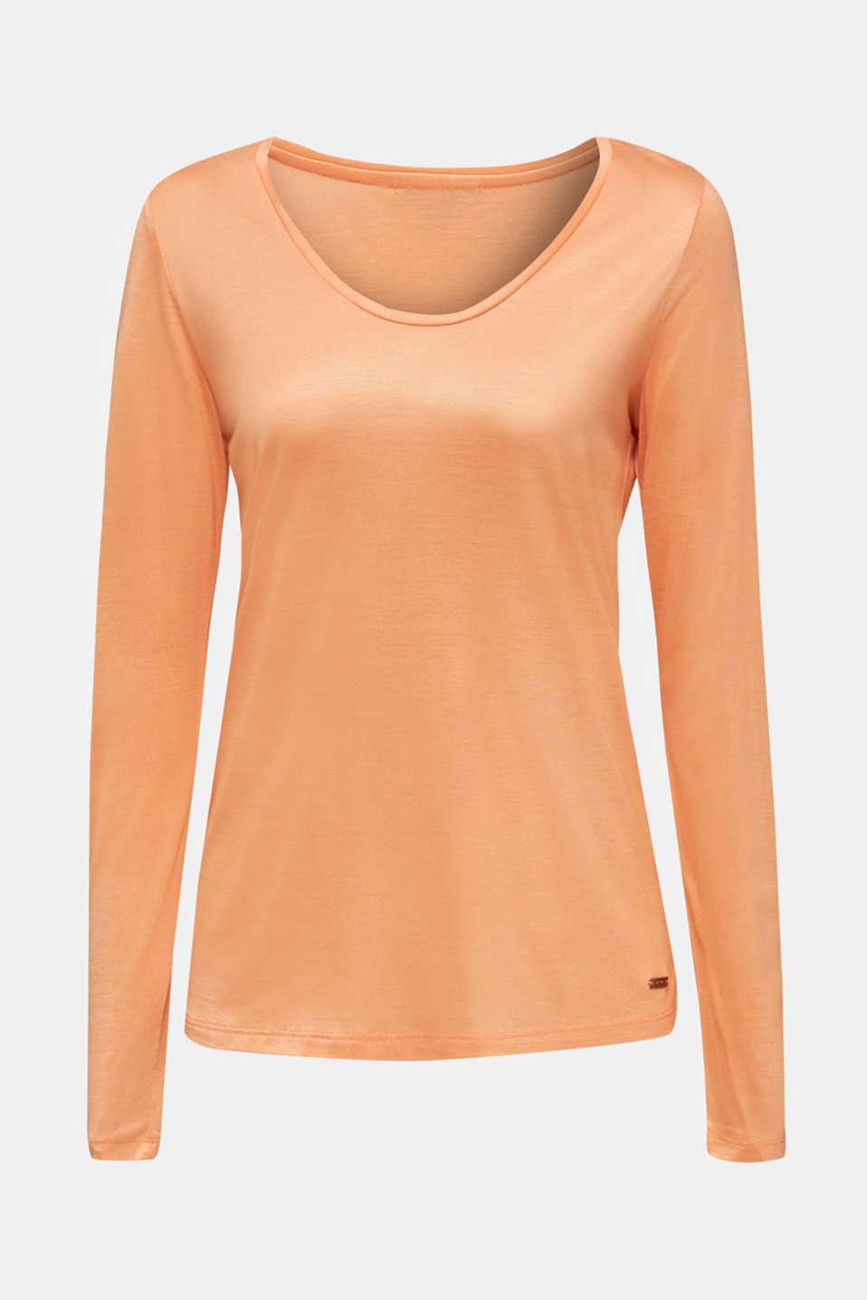 Long sleeve top with a fine sheen, ORANGE, detail image number 6