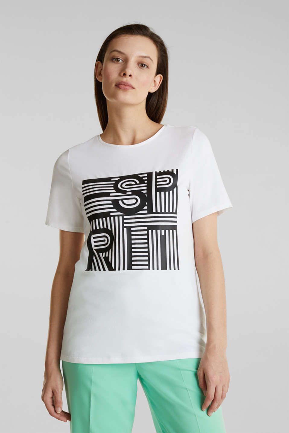 Printed stretch cotton T-shirt, WHITE, detail image number 0