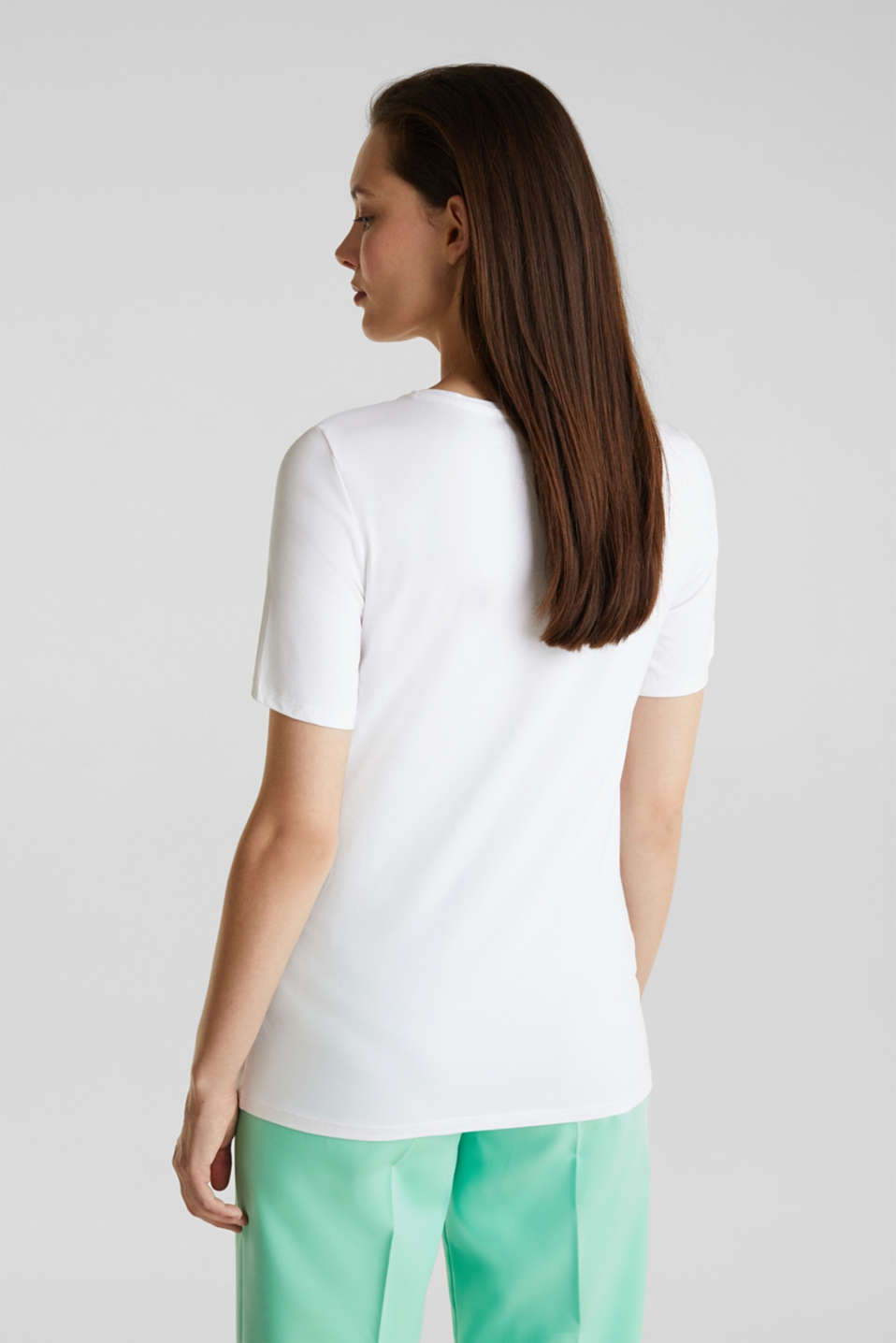 Printed stretch cotton T-shirt, WHITE, detail image number 3