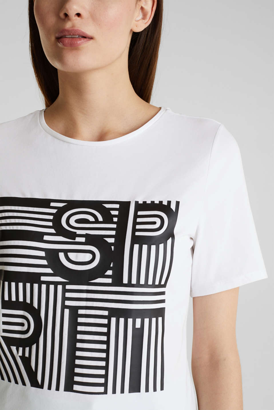 Printed stretch cotton T-shirt, WHITE, detail image number 2