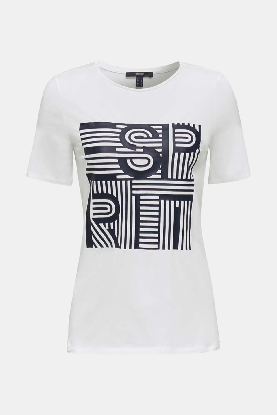 Printed stretch cotton T-shirt, WHITE 2, detail image number 5