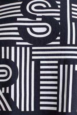 Printed stretch cotton T-shirt, NAVY, detail