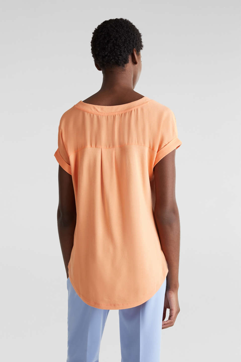 Blousy T-shirt in a material mix, ORANGE, detail image number 3