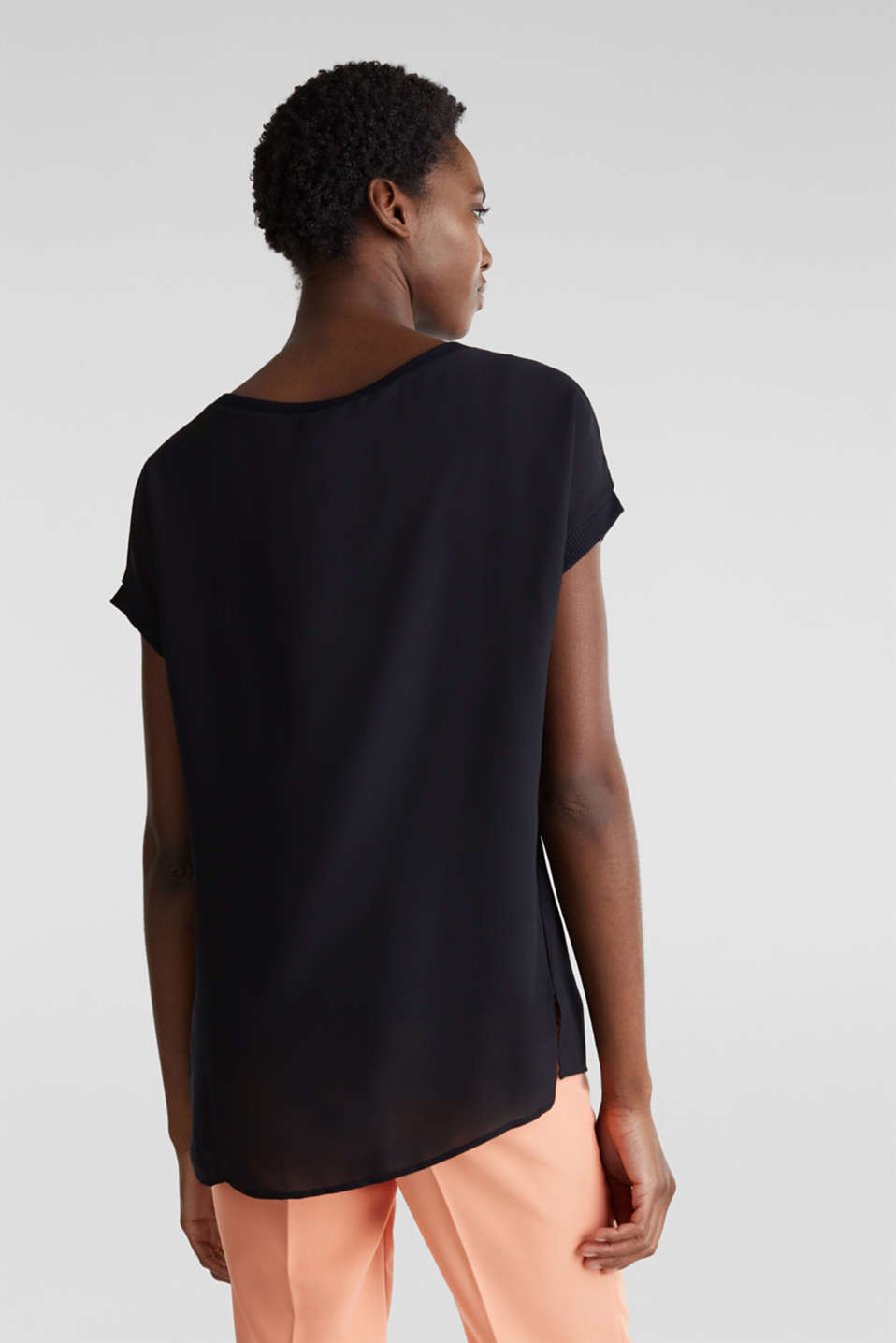 Long T-shirt made of jersey/chiffon, BLACK, detail image number 3