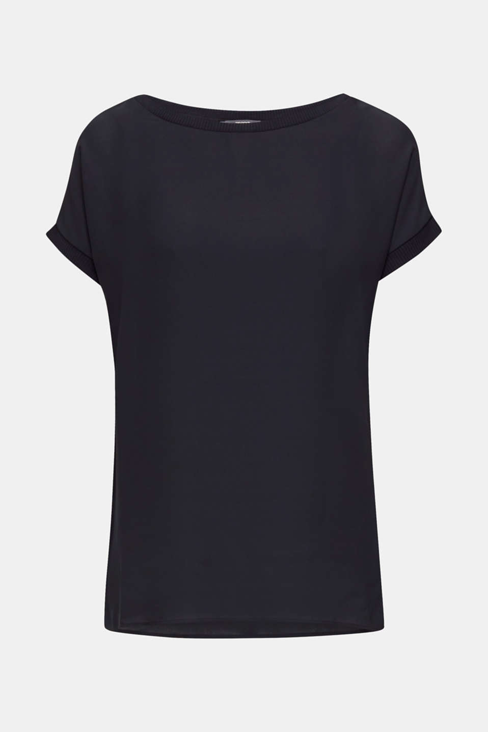 Long T-shirt made of jersey/chiffon, BLACK, detail image number 7