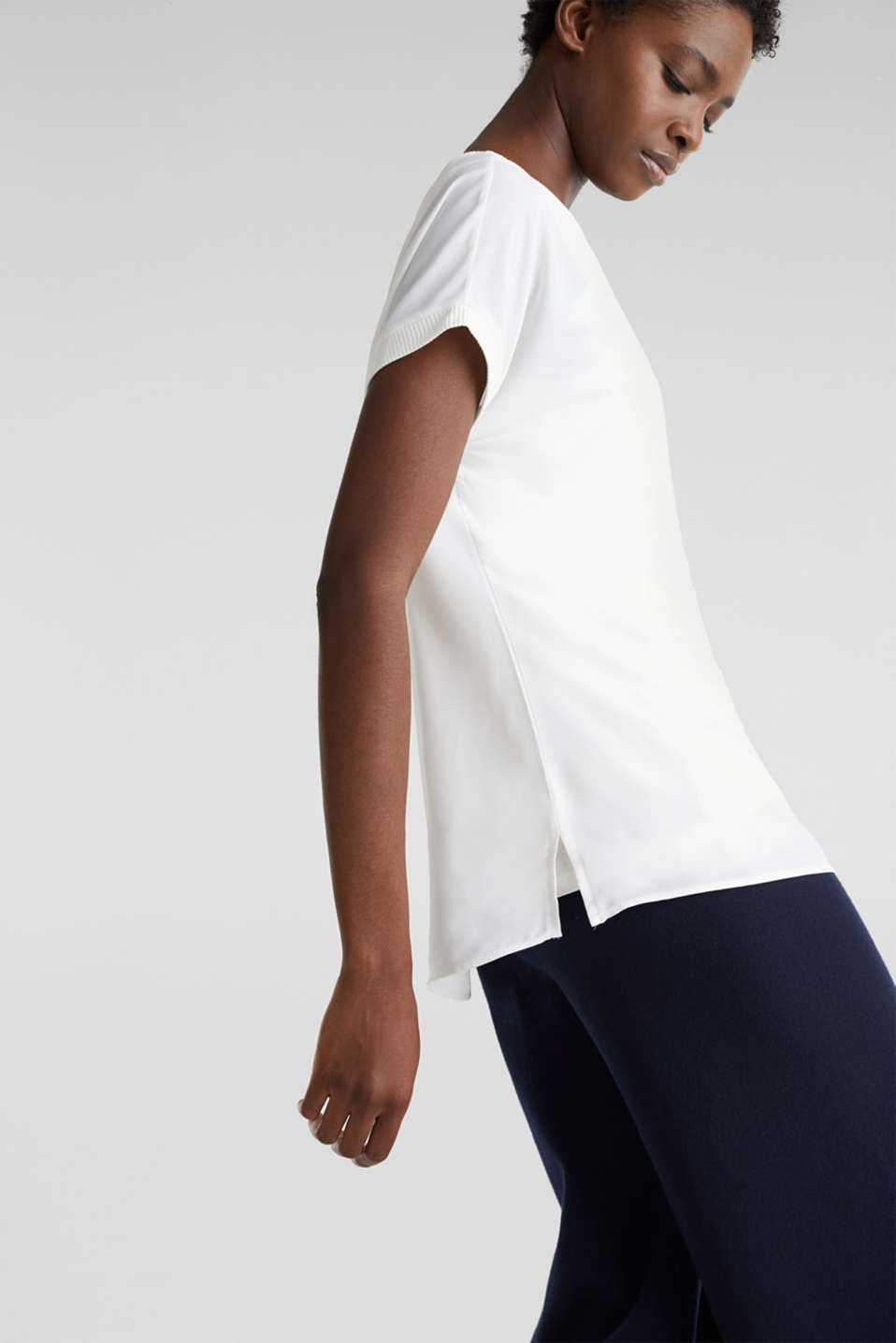 Long T-shirt made of jersey/chiffon, OFF WHITE, detail image number 4