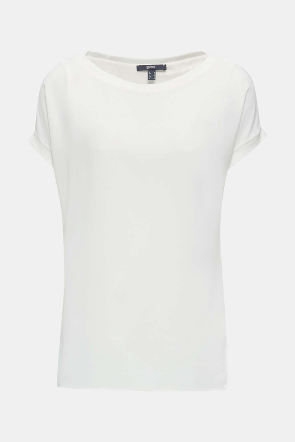 Long T-shirt made of jersey/chiffon, OFF WHITE, detail image number 6