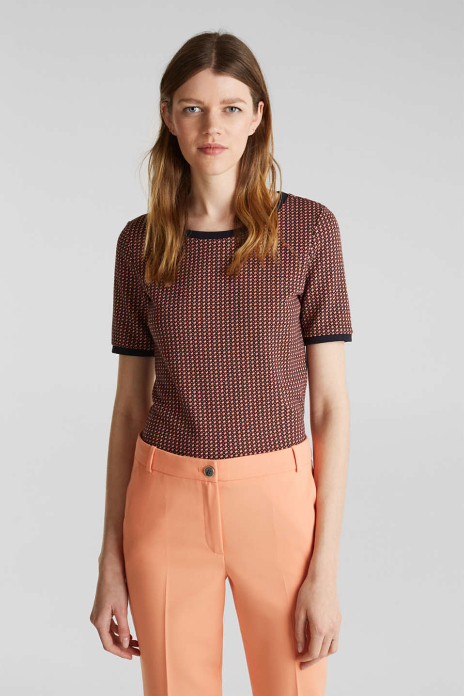 Esprit - Stretch-Shirt mit Jacquard-Muster