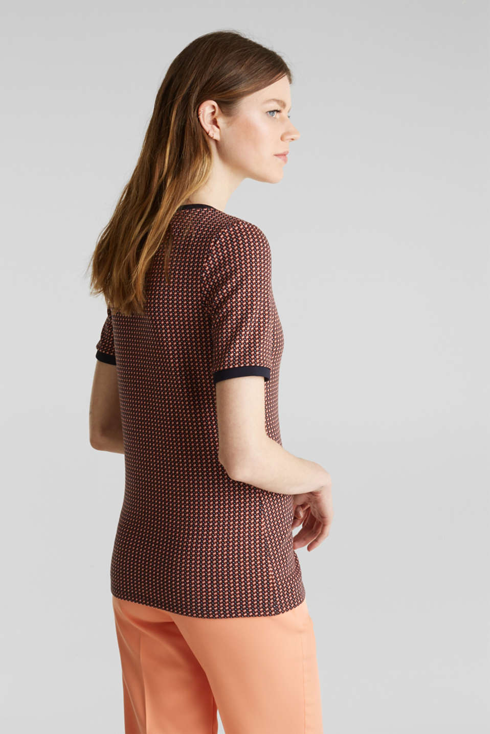 Stretch top with a jacquard pattern, NAVY, detail image number 3