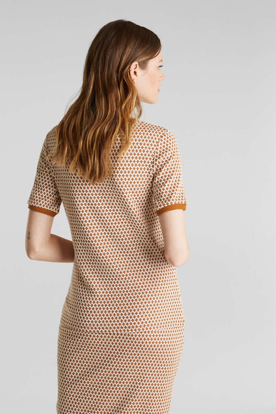 Stretch top with a jacquard pattern, OFF WHITE, detail image number 3