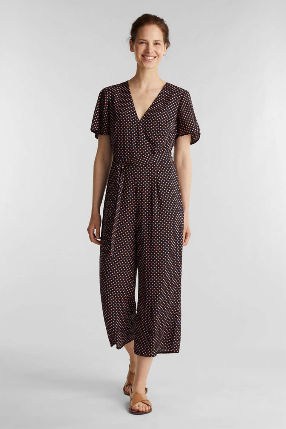 Esprit - Culotte jumpsuit with an all-over print