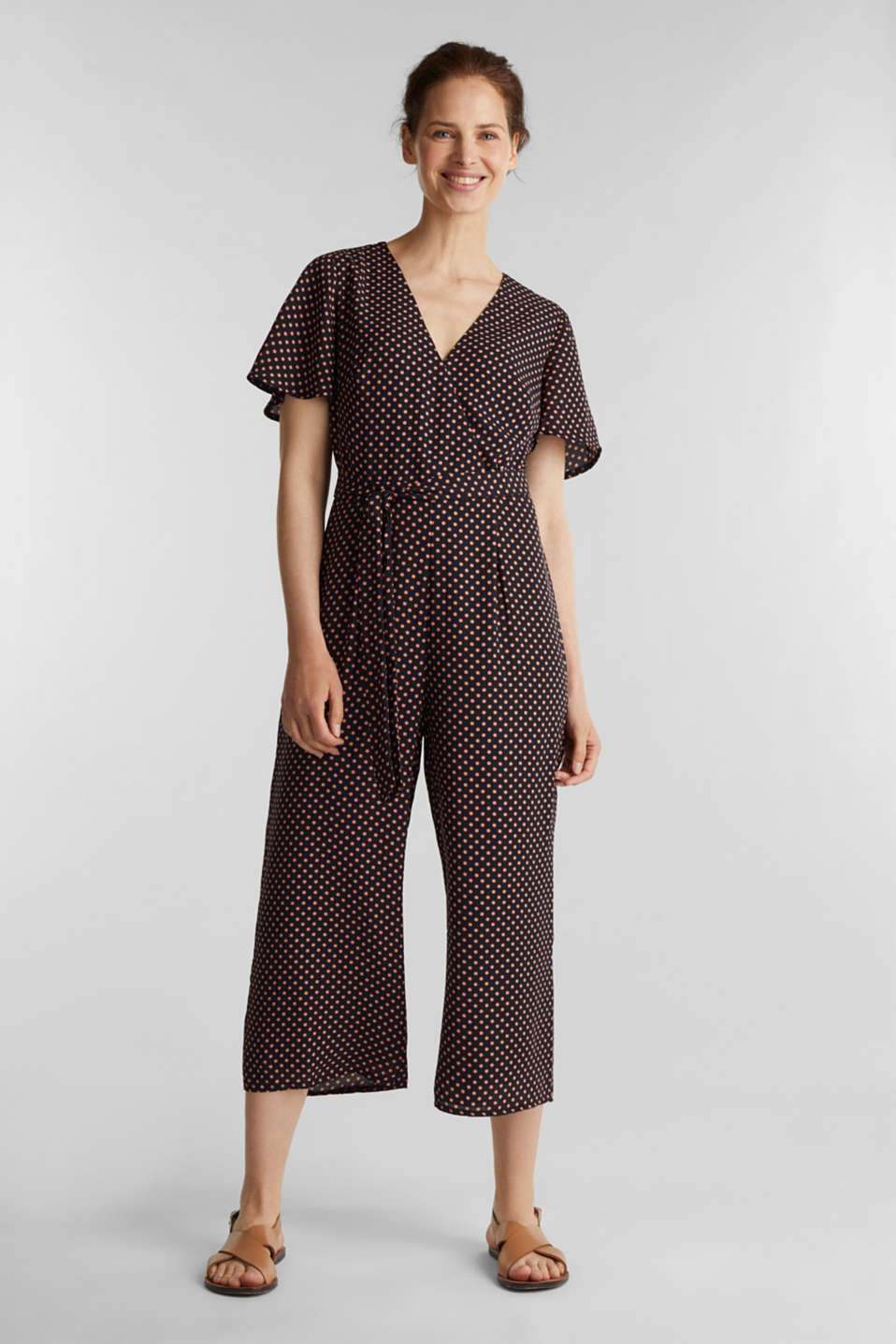 Culotte jumpsuit with an all-over print, NAVY, detail image number 0