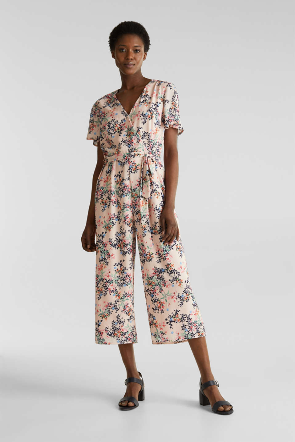 Culotte jumpsuit with an all-over print, PASTEL PINK 4, detail image number 0