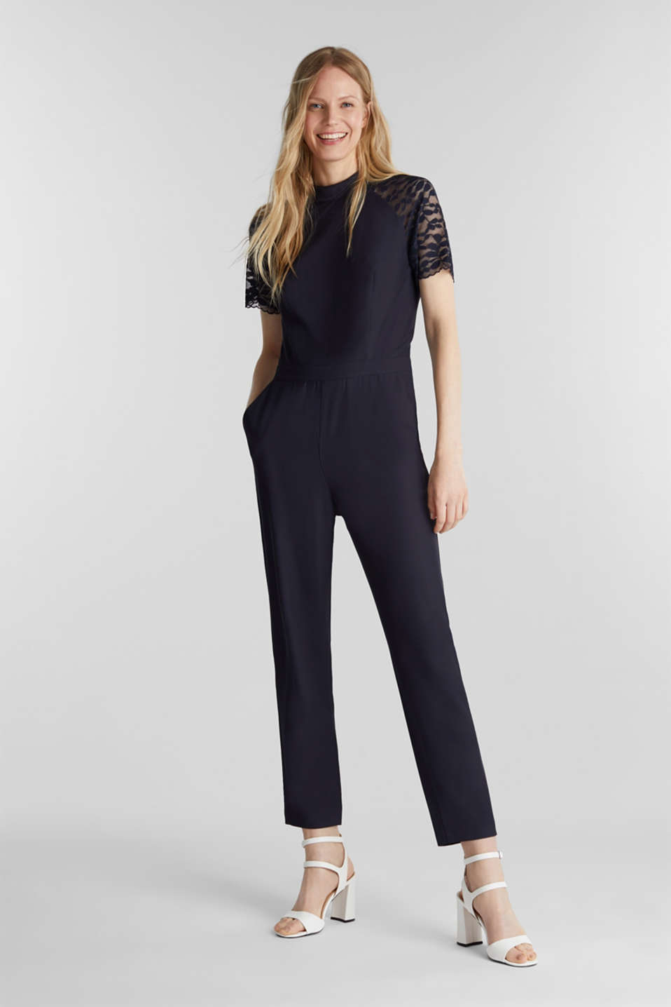 Jumpsuit with lace sleeves, NAVY, detail image number 0