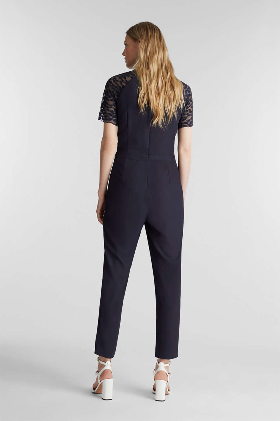 Jumpsuit with lace sleeves, NAVY, detail image number 3