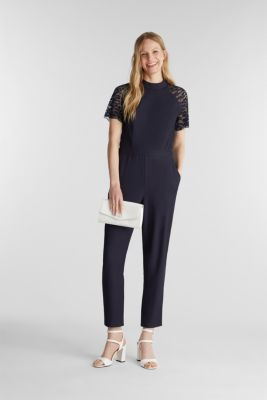 Jumpsuit with lace sleeves, NAVY, detail