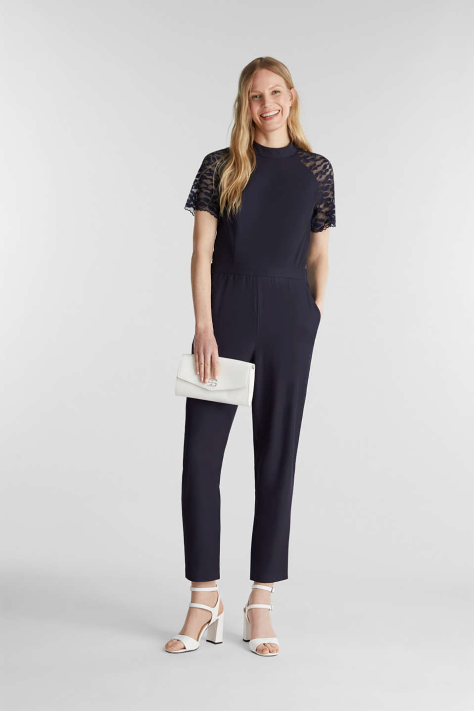Jumpsuit with lace sleeves, NAVY, detail image number 1