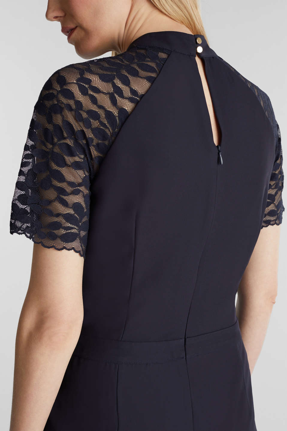 Jumpsuit with lace sleeves, NAVY, detail image number 2